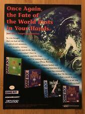 Final Fantasy Adventure / Legend I II III 1 2 3 Gameboy 1998 Vintage Poster Ad