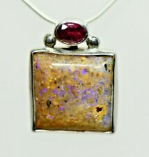 Louisiana Opal In Hand Made Solid Sterling Silver Pendant with Oval Tourmaline