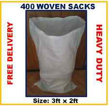 400 Woven Polypropylene Rubble Sacks Sand Bags Sacks Reusable Strong Sack Bags