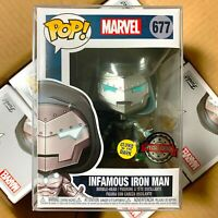 Funko Pop Marvel : Infamous Iron Man #677 Glows in the Dark Special Edition MINT