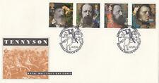 (09655) GB FDC Alfred Lord Tennyson penisola Caserma WINCHESTER 10 MARZO 1992