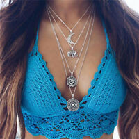 Boho Choker Necklace Silver Chain Elephant Sun Moon Flower Pendant Multi Layer