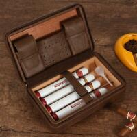 GALINER Leather Cigar Humidor Travel Cedar Wood Case 4 Tube Holder