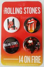 ROLLING STONES 14 ON FIRE Tour 2014 - 4 BUTTON Set Official Licensed Merchandise
