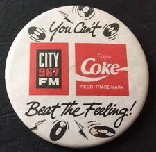 Vintage Badge Coca-Cola Coke City 96.7 FM Radio 5.5cm Pin B027