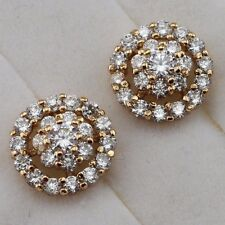 Yellow Gold Filled Stud Earrings h2723 Hot Beautiful Flower White Cz Gem Jewelry