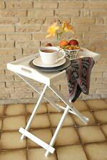 Meditarraner Tablett-Tisch Servierwagen Beistelltisch klappbar Holz Garten weiß