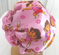 SHOWER CAP PINK  DORA CHILD  SATIN handmade   WATER PROOF LINING