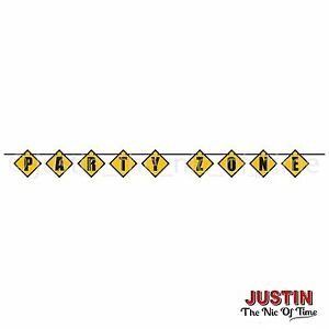 Construction Digger JCB Boys Party Decorations Block Hanging Banner PARTY ZONE
