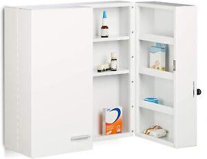 Relaxdays XXL Medicine Cabinet, Premium Locking w/ 2 Doors and 11 Compartments