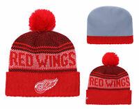 NHL Hockey Detroit Red Wings Beanie Cap Knit Warm Winter Hat Fleece lined