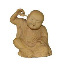Artist Crafter Solid Wood Color Meditate Arhat Monk Statue Digging Ear n400