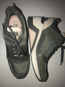 Skechers Women's Street Million  High N' Fly Wedge Heeled Sneaker Olive 6.5 NWOB