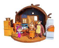 Simba 109301632 - Mascha und der Bär Spielset Bärenhaus zum Aufklappen