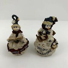 Boyds Bears Christmas Ornament Lot- 2 Snowmen on Snow balls 1997 & 1998