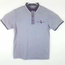 Giorgio Armani Mens XXL S/S Polo Shirt Striped Embroidered Cotton Chest Pocket