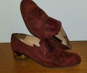 Vintage  Men's Shoes Suede Burgundy Loafers Sz 9.5 Acrylic Heels 1970's