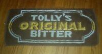 TOLLY'S ORIGINAL BITTERS brown LIQUOR ALCOHOL vintage PROMO BAR TOWEL antique