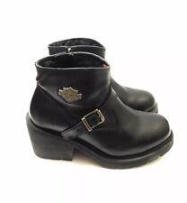 Harley Davidson 7 Black Leather Ankle Boots Heavy Heels Buckle Logo $175