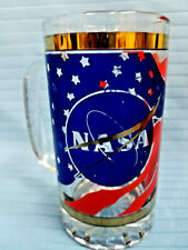 NASA Design Heavyweight Glass Tanker Stein Tumbler Highball Beer Mug Blue Red