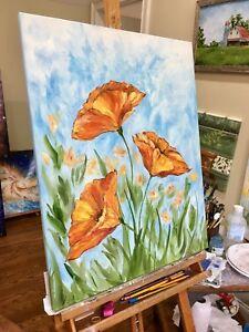 """Wild Poppies"" Original Oil Painting orange poppy flowers garden art lily roses"