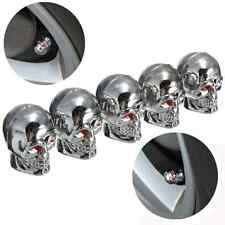 5xChrome Skull Tire Air Stem Valve Cap Cover Set For Car Hotrod Ratrod SUV Bike