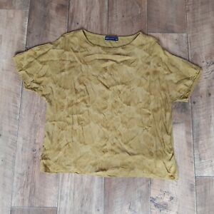 Marks And Spencer Size 12 Mustard Yellow Leaf Patterned Short Sleeve Top