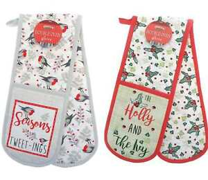 CHRISTMAS DOUBLE OVEN GLOVES HEAT RESISTANT KITCHEN COTTON  MITTS OVEN GLOVE