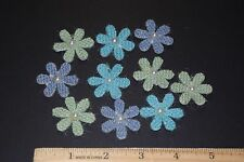 30  BURLAP DAISY FLOWERS CRAFTS SCRAPBOOKING EMBELLISHMENTS LIGHT COLORS