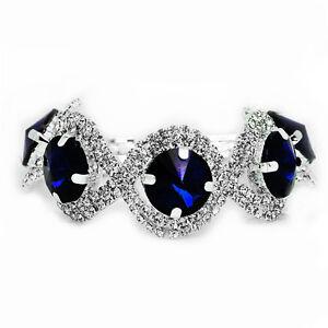 Elegant Silver Royal Dark Blue Rhinestones Shiny Bracelet Bridal Jewellery BB152