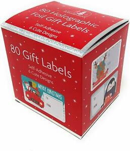 Christmas Gift Labels Tags Self Adhesive Sticky Holographic Xmas Gift Tags x 80