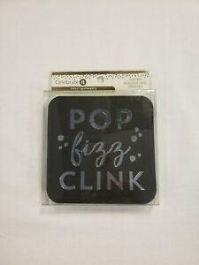 New! Celebrate It POP fizz CLINK Paper Coasters 12 Pc Black Square