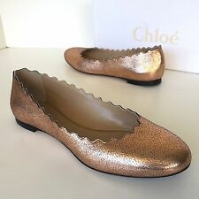 $515 Chloe Lauren Scalloped Ballerina Ballet Flat Shoes Pink Gold 37 Italy 7 US