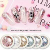 Sequins Powder Nail Art Glitter Dust Powder for UV Gel Acrylic Manicure Tips