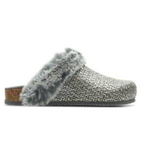 Clarks fireside home Silver Metallic ladies slippers size Uk 5 D Eu 38
