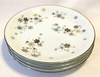 """4 VTG Noritake N Japan Corinth 5554 China 8"""" Salad Plates Atomic Snowflake MCM"""
