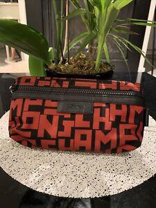 NWT LONGCHAMP Le Pliage LGP Logo Nylon Cosmetic Bag/Pouch in Black/Khaki $90