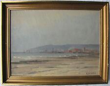 Erik Jean (Sweden 1894-1970) Spiaggia di fronte al porto Olio su masonite 23x30