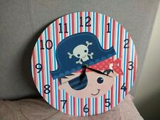 Childs bedroom Wall Clock pirate theme