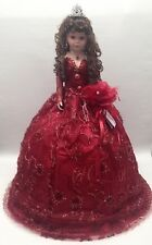 NEW Burgundy Red 28 in Mis 15 XV Anos Quinceanera Porcelain Umbrella Muñeca Doll