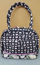 Vera Bradley Pink Elephants Zippered BOWLING Style Purse Tote Bag - Retired