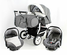3 in 1DUO STARS ADBOR Double Twin Pram TWINS+2 car seats, certified to BS5852.