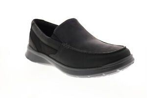 Clarks Cotrell Easy Mens Black Wide Leather Loafers & Slip Ons Casual Shoes