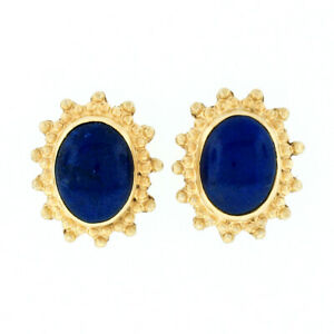 Greek Solid 22K Yellow Gold Oval Cabochon Top Quality Blue Lapis Stud Earrings