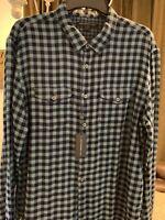 NWT $168 John Varvatos Star USA Large Blue Plaid Double Pocket Button Shirt