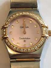 Omega Ladies Quartz Mother Of Pearl Diamond Dial And Bezel