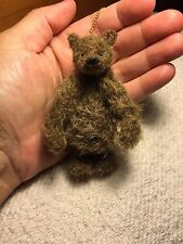 Miniature Hand Sewn 3 in. Scruffy Brown Mohair Teddy Bear PURSE by Lori Wright