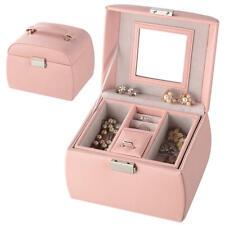 Leather Jewelry Organizer Lockable Mirrored Storage Case, Pink - SortWise™