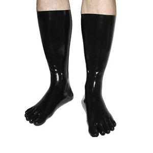Rubberfashion sehr lange Latex Zehen Socken, Latexzehensocken Wade