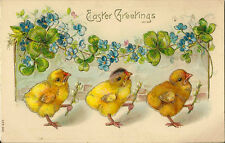 EASTER :' Easter Greetings'-embossed -   Chicks and Flowers